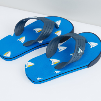 Printed Flip Flops with Applique Detail Straps