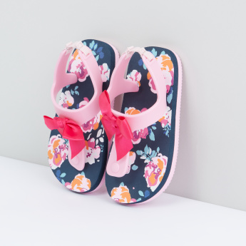 Floral Printed Flip Flops with Elasticised Backstrap