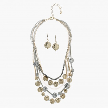Multi Chain Necklace and Earring Set