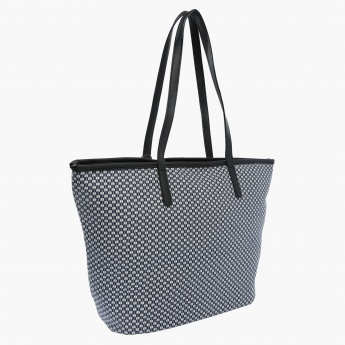 Printed Tote Bag with Zip Closure