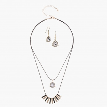 Studded Multi Chain Necklace and Earring Set