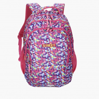 Printed Backpack with Zip Closure