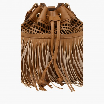 Fringed Backpack with Drawstring Closure