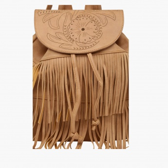 Fringed Backpack with Adjustable Straps
