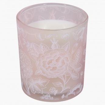 Floral Print Glass Candle