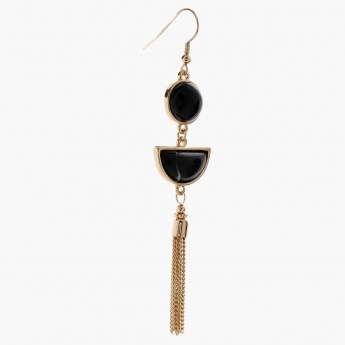Studded Earring with Chain Tassels