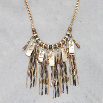 Beaded Fringed Long Necklace