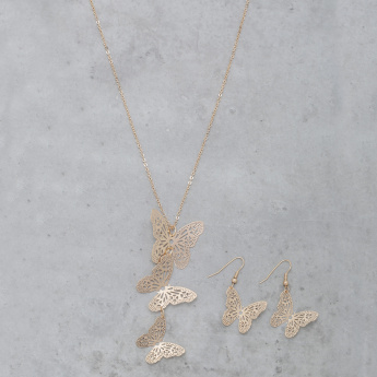 Butterfly Necklace and Earrings Set