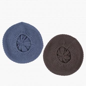 Knitted Beret Cap - Set of 2