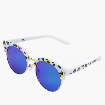 Printed Round Reflective Sunglasses