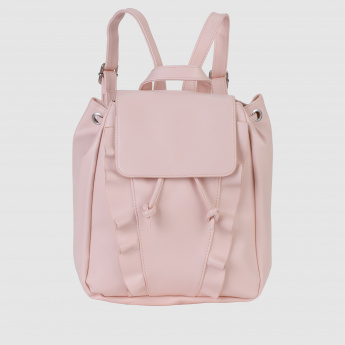 Drawstring Backpack with Flap Closure and Frill Detailing