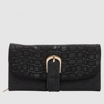 Textured Wallet with Buckle Closure
