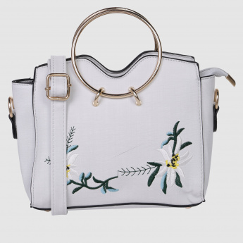 Embroidered Handbag with Round Metallic Handles