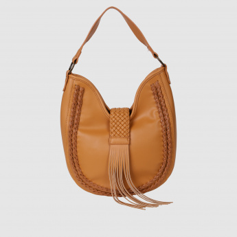 Hobo Handbag with Plait Detailing