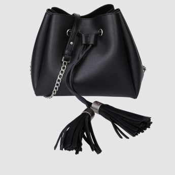 Drawstring Closure Sling Bag with Tassels