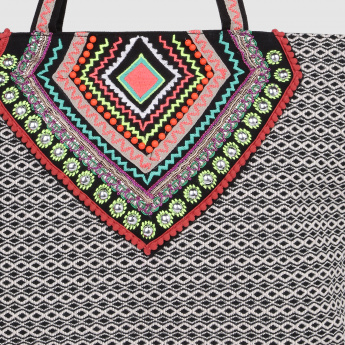 Embroidered Tote Handbag
