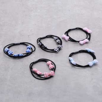 Bow Applique Hair Tie - Set of 5