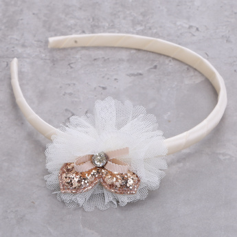 Embellished Hairband with Mesh Detailing