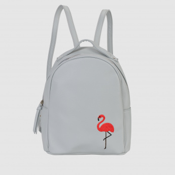 Swan Embroidered Textured Backpack