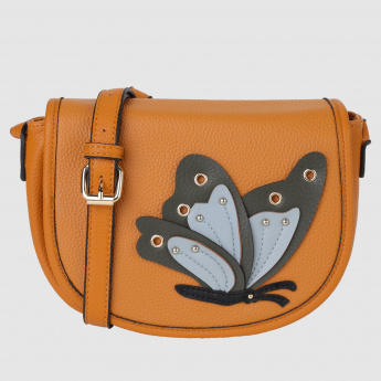 Textured Crossbody Bag with Butterfly Applique