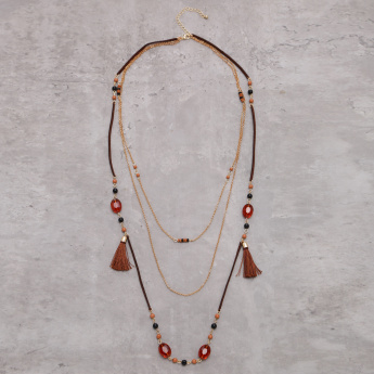 Multi Layer Long Necklace with Lobster Clasp