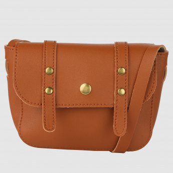 Studded Crossbody Bag with Flap and Magnetic Snap Closure