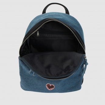 Applique Detail Backpack with Zip Closure