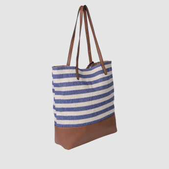 Striped Tote Handbag with Fringed Danglers