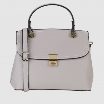 Textured Handbag with Flap