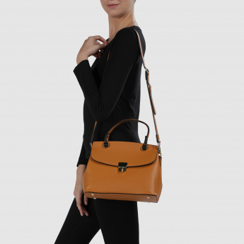 Textured Crossbody Bag with Flap and Twist Lock
