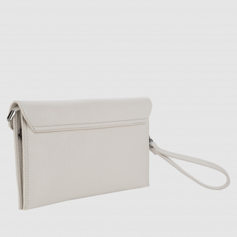 Texture Clutch Bag with Metallic Closure