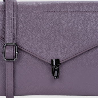 Textured Sling Bag with Zip Closure and Flap