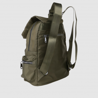 Backpack with Zip Closure and Flap