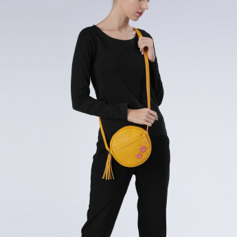 Applique Detail Sling Bag with Zip Closure