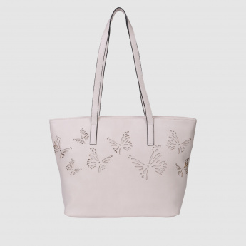 Tote Handbag with Cutwork Detailing