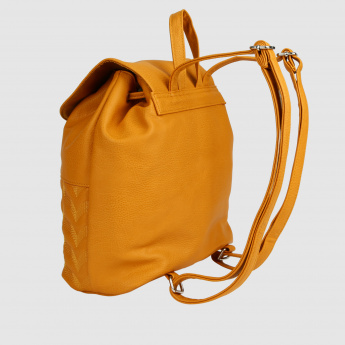 Textured Bucket Backpack with Flap