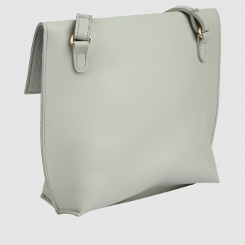 Metallic Detail Crossbody Bag with Flap