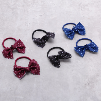 Polka Dots Printed Hair Tie with Bow Applique - Set of 6