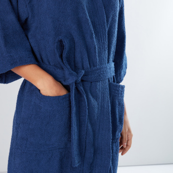 Large Plush Bathrobe with Long Sleeves and Tie Up Belt
