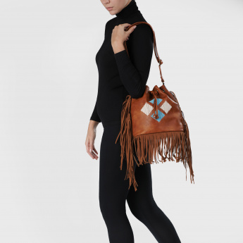 Bucket Bag with Fringe Detail