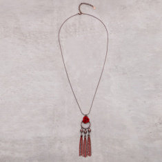 Long Tribal Necklace with Tassels