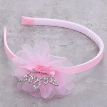 Embellished Hairband with Mesh Flower
