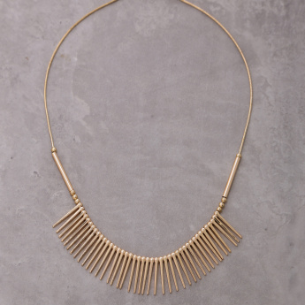 Metallic Fringed Detail Necklace with Lobster Clasp