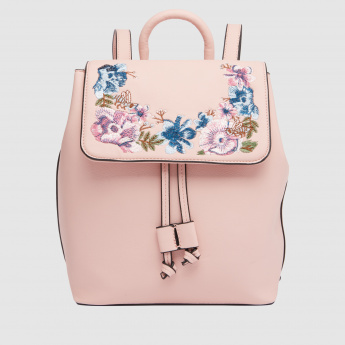 Embroidered Backpack with Flap