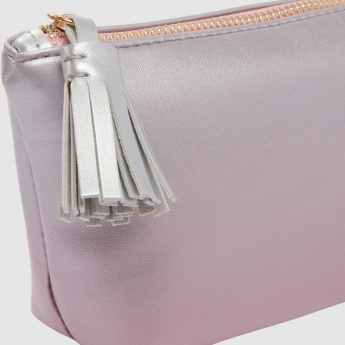 Pouch with Zip Closure and Tassel Detail
