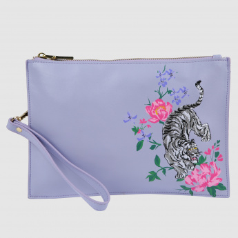 Embroidered Pouch with Zippered Closure