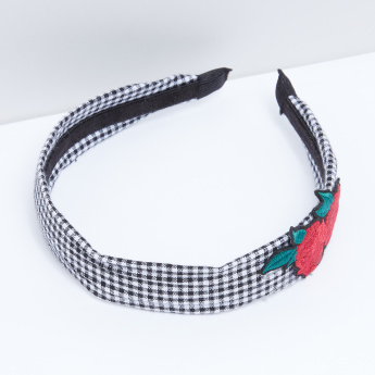 Applique Detail Chequered Hair Band