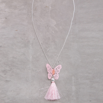 Cutwork Butterfly Long Necklace with Tassel