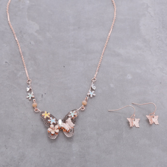 Butterfly Embellished Necklace and Earrings Set