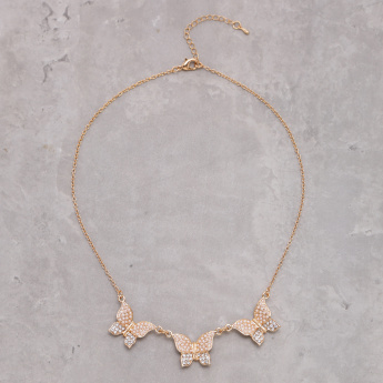 Studded Short Necklace with Lobster Clasp